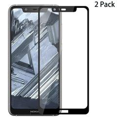 [2-Pack]-Shinwo Nokia 5.1 Plus / Nokia X5 [Full Coverage Full Glue ] Tempered Glass Screen Protector Black for Nokia 5.1 Plus / Nokia X5 / Nokia 5 Plus 2018