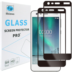 [2-Pack]-Shinwo Nokia 2 Smartphone [9H Hardness] [Full Coverage Tempered Glass] Screen Protector Black for Nokia 2 2017 Smartphone