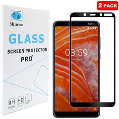[2-Pack]-Shinwo Nokia 3.1 Plus / Nokia X3 [Full Coverage Tempered Glass] Screen Protector Black for Nokia 3.1 Plus / Nokia X3