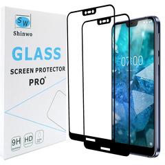 [2-Pack]-Shinwo Nokia 7.1 / Nokia 7 2018 [Full Coverage Tempered Glass] Screen Protector Black for Nokia 7.1 / Nokia 7 2018 Smartphone