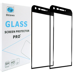 [2-Pack]-Shinwo LG G5 [9H Hardness][Bubble-Free] [Full Coverage Tempered Glass] Screen Protector Black for LG G5 Smartphone