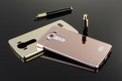 Hot Sale Mobile Phone Case LG V20 Mirror Back Panel + Metal Frame Protective Case Black for LG V20 (2016) Smartphone