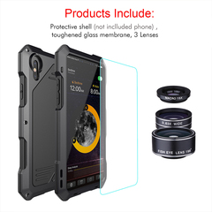 iPhone XS Max XR 7 Plus 8 Plus Phone Shell with 3 Special Effects Lens Fisheye Wide-Angle Macro Black for iPhone XS Max 6.5''