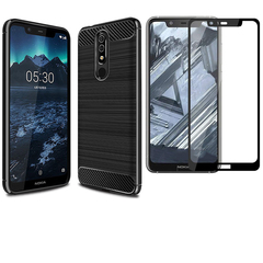 Hot Sale [1-Pack] Nokia 5.1 Plus Phone Case + Nokia 5.1 Plus [Tempered Glass] Screen Protector black for Nokia 5.1 Plus