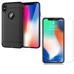 [1-Pack] iPhone X / iPhone 10  (2017) Phone Case + [Tempered Glass] Screen Protector black for iPhone X / 10 5.8'' (2017)