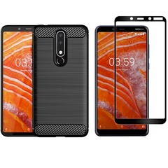 [1-Pack] Nokia 3.1 Plus (Nokia X3) Phone Case + [Tempered Glass] Screen Protector black for Nokia 3.1 Plus / Nokia X3