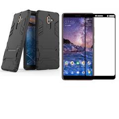 Hot Sale Shinwo [1-Pack] Nokia 7 Plus Phone Case + Nokia 7 Plus [Tempered Glass] Screen Protector black for Nokia 7 Plus