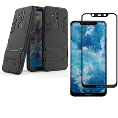 Nokia 7.1 Plus / Nokia X7  Phone Case +  Nokia 7.1 Plus / X7 Tempered Glass Screen Protector 1-Pack Black for Nokia 7.1 Plus / Nokia X7 Smartphone