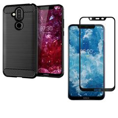 Nokia 7.1 Plus / Nokia X7 Phone Case + Nokia 7.1 Plus / X7 [Tempered Glass] Screen Protector black for Nokia 7.1 Plus (2018) / Nokia X7