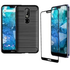[1-Pack] Nokia 7.1 (2018) Phone Case + Nokia 7.1 (2018) [Tempered Glass] Screen Protector black for Noka 7.1 / Nokia 7 (2018)