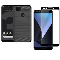 [1-Pack] Google Pixel 3 Phone Case + Google Pixel 3 [Tempered Glass] Screen Protector black for Google Pixel 3 Smartphone