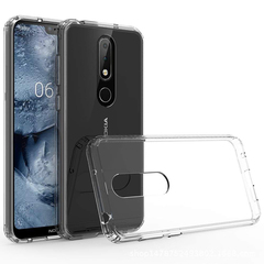 Nokia 6.1 Plus / Nokia X6 Case [Crystal Clear] PC Back Panel + TPU Bumper Shockproof Phone Case Clear for Nokia 6.1 Plus / Nokia X6 Smartphone