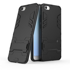 Shinwo VIVO Y69 Smartphone Case Rugged Armor [Drop-protection] with Kickstand Black for VIVO Y69