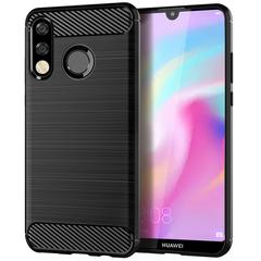 Shinwo Huawei P30 Lite / Nova 4E Case Rugged Armor Carbon Fiber Soft TPU Shockproof Protective Case black for Huawei P30 Lite / Nova 4E