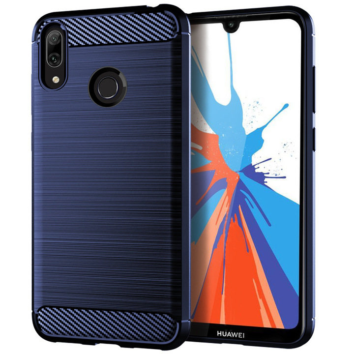 Ready Stock Phone Case Huawei Y7 2019 / Y7 Prime 2019 Rugged Armor Carbon Fiber Soft TPU Case Cover blue for Huawei Y7 2019 / Y7 Prime 2019
