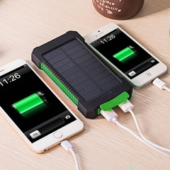 Ready Stock Solar Portable Charger 20000mAh with Portable Dual USB Solar Battery Fast Charger Green (Actual Capacity 8000mah)