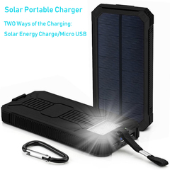 Hot Sale Solar Portable Charger 20000mAh with Portable Dual USB Solar Battery Fast Charger black (actual capacity 8000mah)