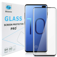 [1-Pack] Shinwo Samsung Galaxy S10 Plus [0.26mm 4D Full Coverage] [Tempered Glass Screen Cover] Black for Samsung Galaxy S10 Plus 2019