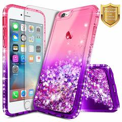 [1-Pack] iPhone 7 / 8 iPhone 7 Plus / 8 Plus Bling Glitter Soft TPU Case + Glass Screen Protector pink+purple for iPhone 7 / iPhone 8
