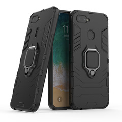 Phone Case for OPPO F9 Rugged Armor [Drop-protection] with Car Magnetic Ring Holder Navy black for OPPO F9