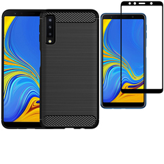 Hot Sale Shinwo [1-Pack] Samsung Galaxy A7 2018 Case + A7 2018 [Tempered Glass] Screen Protector black for Samsung Galaxy A7 2018