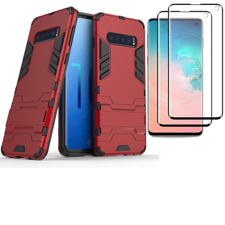 Shinwo 1 x Samsung Galaxy S10e Phone Case + 2 x S10e [Full Screen PET Screen Protector] Red for Samsung Galaxy S10e (2019)