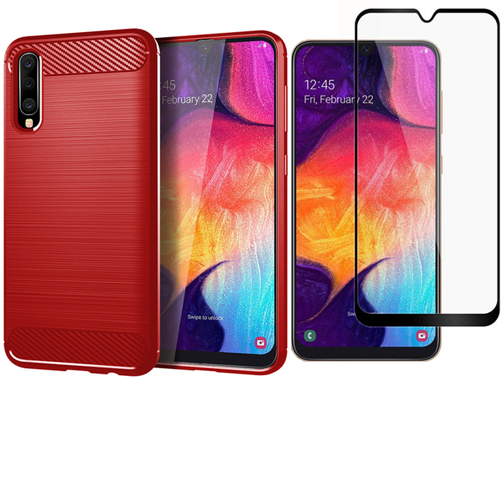 Shinwo [1-Pack] Samsung Galaxy A50 Phone Case + A50  [Full Screen Tempered Glass] Screen Protector red for Samsung Galaxy A50 (2019)