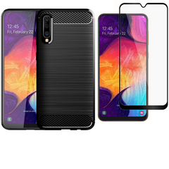 Shinwo [1-Pack] Samsung Galaxy A50 Phone Case + A50  [Full Screen Tempered Glass] Screen Protector black for Samsung Galaxy A50 (2019)