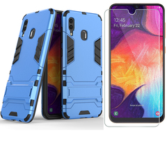 Shinwo [1-Pack] Samsung Galaxy A20 / Galaxy A30  Phone Case + [9H Tempered Glass] Screen Protector grey for Samsung Galaxy A20 / Galaxy A30