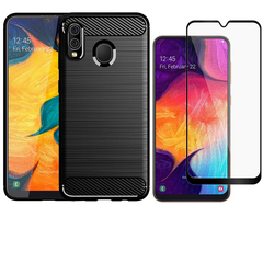 [1-Pack] Samsung Galaxy A30 / Galaxy A20 Phone Case + [Full Cover Tempered Glass] Screen Protector black for Samsung Galaxy A30 / Galaxy A20