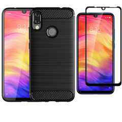 [1-Pack] Redmi Note 7 / Note 7 Pro Phone Case + [Full Cover Glue Tempered Glass] Screen Protector black for  Redmi Note 7 / Note 7 Pro
