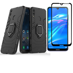 [1-Pack] Huawei Y7 2019 / Y7 Prime 2019 Phone Case + [Full Cover Tempered Glass] Screen Protector black for Huawei Y7 2019 / Y7 Prime 2019