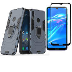 [1-Pack] Huawei Y7 2019 / Y7 Prime 2019 Phone Case + [Full Cover Tempered Glass] Screen Protector red for Huawei Y7 2019 / Y7 Prime 2019