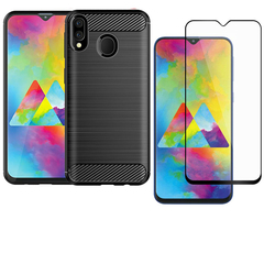 [1-Pack] Samsung Galaxy M20 Galaxy M10 Phone Case + [Full Cover Tempered Glass] Screen Protector black for Samsung Galaxy M20