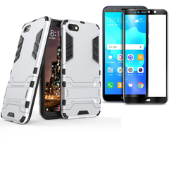 [1-Pack] Huawei Y5 2018 / Y5 Prime 2018 Phone Case + [Full Cover Tempered Glass] Screen Protector blue for Huawei Y5 2018 / Y5 Prime 2018