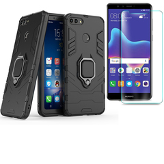 [1-Pack] Huawei Y9 2018 / Enjoy 8 Plus Phone Case + [9H Clear Tempered Glass] Screen Protector black for Huawei Y9 2018 / Enjoy 8 Plus
