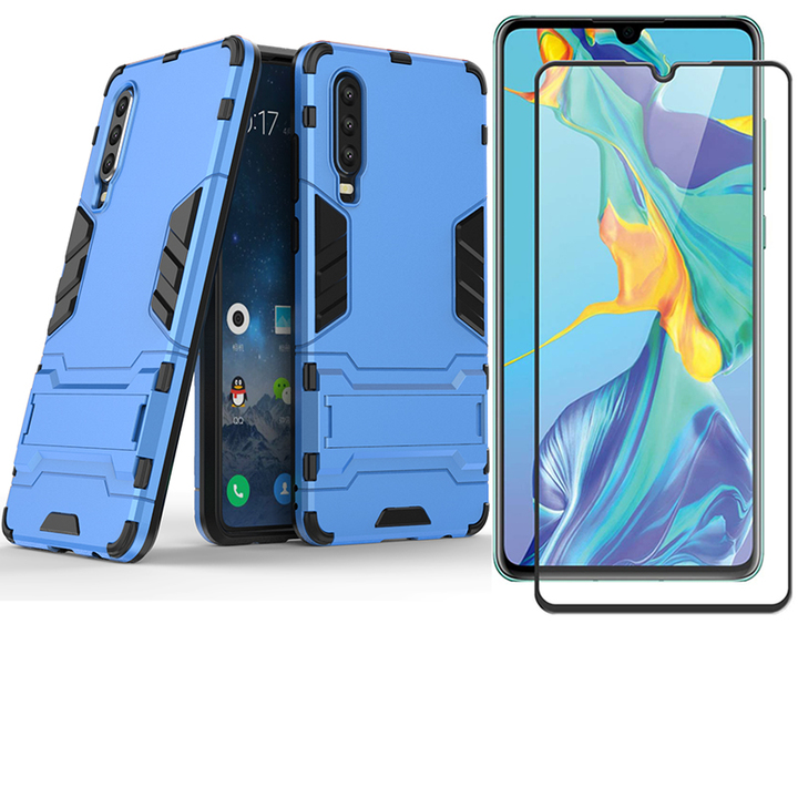 [1-Pack] Huawei P30 Phone Case + [Full Glue Full Cover Tempered Glass] Screen Protector blue for Huawei P30