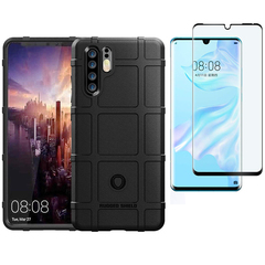 [1-Pack] Huawei P30 Pro / P30 Plus Phone Case + [Full Glue Cover Tempered Glass] Screen Protector black for Huawei P30 Pro / P30 Plus