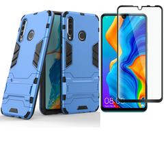 [1-Pack] Huawei P30 Lite / Nova 4E Phone Case + [Full Glue Cover Tempered Glass] Screen Protector sliver for Huawei P30 Lite / Nova 4E