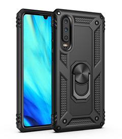 Phone Case for Samsung Galaxy A30 A20 Rugged Armor [Drop-protection] with Car Magnetic Ring Holder Black for Samsung Galaxy A30