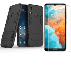 [1-Pack] Huawei Y6 2019 / Y6 Prime 2019 Phone Case + [HD Clear Tempered Glass] Screen Protector black for Huawei Y6 2019 / Y6 Prime 2019