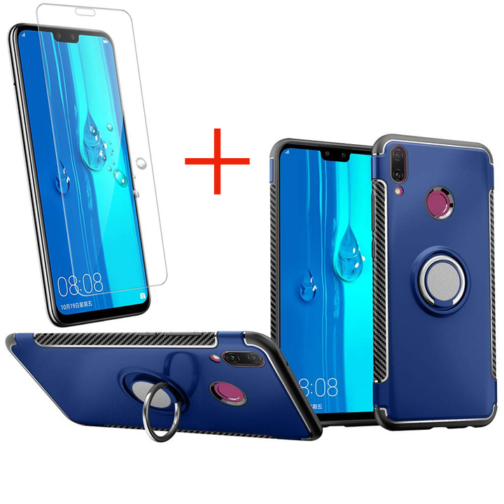 [1-Pack] Huawei Y9 2019  / Enjoy 9 Plus Phone Case + [HD Clear Tempered Glass] Screen Protector blue for Huawei Y9 2019  / Enjoy 9 Plus