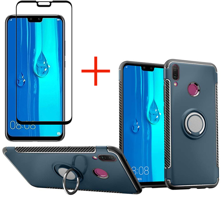 1x Huawei Y9 2019 / Enjoy 9 Plus Phone Case + [Full Glue Full Cover Tempered Glass] Screen Protector navy for Huawei Y9 2019 / Enjoy 9 Plus