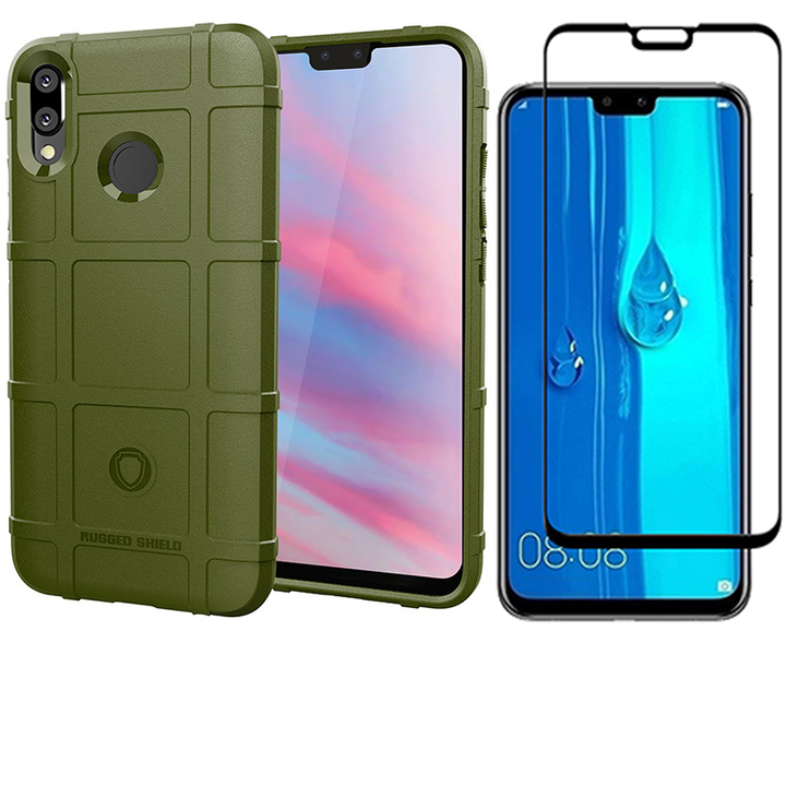 1x Huawei Y9 2019 / Enjoy 9 Plus Phone Case + [Full Glue Full Cover Tempered Glass] Screen Protector army green for Huawei Y9 2019 / Enjoy 9 Plus