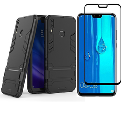 1x Huawei Y9 2019 / Enjoy 9 Plus Phone Case + [Full Glue Cover Tempered Glass] Screen Protectorx black for Huawei Y9 2019 / Enjoy 9 Plus
