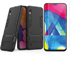 1x Samsung Galaxy A10 Phone Case + [HD Clear Tempered Glass] Screen Protector sliver for Samsung Galaxy A10
