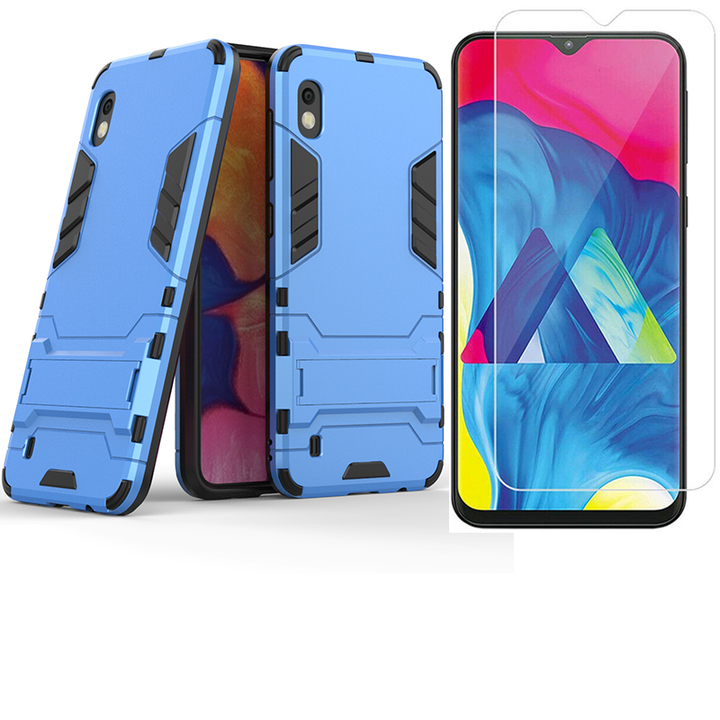 1x Samsung Galaxy A10 Phone Case + [HD Clear Tempered Glass] Screen Protector blue for Samsung Galaxy A10