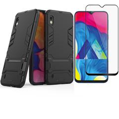 1x Samsung Galaxy M10 / Galaxy A10 Case + [Full Glue Full Cover Tempered Glass] Screen Protector black for Samsung Galaxy M10 / Galaxy A10
