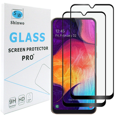 [2 Pack] - Samsung Galaxy A40 Galaxy A70 [Full Glue Full Cover Tempered Glass Screen Protector] black for Samsung Galaxy A40