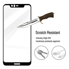 [1-PACK] For Nokia X5 / Nokia 5.1 Plus [Full Screen Glue Cover] [Tempered Glass] Screen Protector Black for Nokia X5 / Nokia 5.1 Plus
